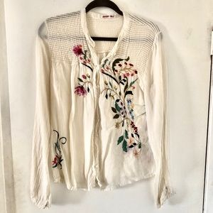 Johnny Was Embroidered Floral Blouse